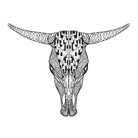 tatouage: taureau stylisé crâne tirée par la main doodle. Illustration