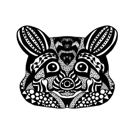 tatoo: stylized raccoon Sketch prints or t-shirt.