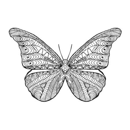 animais: Borboleta estilizado Zentangle. Preto mão branca desenhada animais do doodle. Ilustração vetorial modelado étnica. Africano, design tribal indiano, totem. Esboço para para colorir, tatuagem, cópia, t-shirt