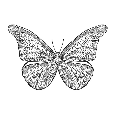 cartoon mariposa: Mariposa estilizada Zentangle. Mano blanco y negro dibujado animales garabato. �tnico ilustraci�n vectorial patr�n. �frica, dise�o tribal indio, t�tem. Boceto de la p�gina para colorear, tatuaje, cartel, impresi�n, camiseta Vectores