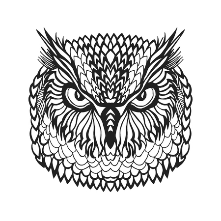 Zentangle stylized eagle owl head. Animals. Black white hand drawn doodle. Ethnic patterned vector illustration. African, indian, totem, tribal design. Sketch for avatar, tattoo, poster, print or t-shirt.  イラスト・ベクター素材