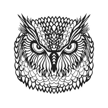 Zentangle gestileerde oehoe hoofd. Dieren. Zwart wit hand getrokken doodle. Etnische patroon vector illustratie. Afrikaans, indisch, totem, tribal design. Schets voor avatar, tattoo, poster, druk of een t-shirt.