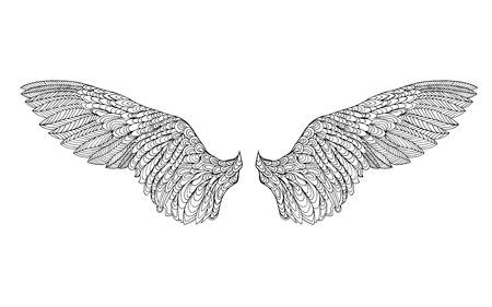 Zentangle 양식에 일치시키는 깃털. 검정, 흰색 손 낙서를 그려. 에스닉 패턴 벡터 일러스트 레이 션입니다. 아프리카, 인도, 토템 문신 디자인. 미술 치료, 일러스트