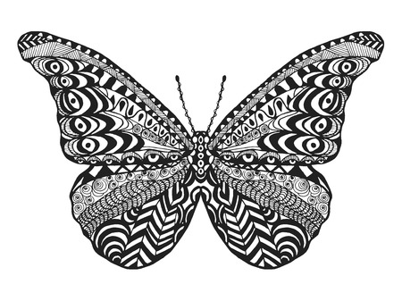 butterfly in hand: Zentangle stylized butterfly. Black white hand drawn doodle animal. Ethnic patterned vector illustration. African, indian, totem tribal design. Sketch for coloring page, tattoo, poster, print, t-shirt