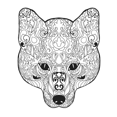wild dog: Fox head. Adult antistress coloring page. Black white hand drawn doodle animal. Ethnic patterned vector. African, indian, totem tribal, zentangle design. Sketch for tattoo, poster, print, t-shirt