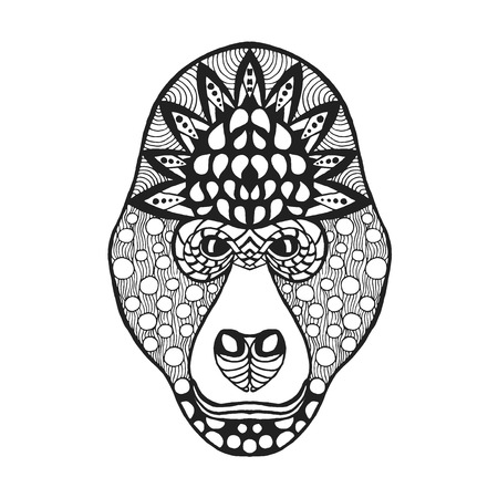 Gorilla head. Adult antistress coloring page. Black white hand drawn doodle animal. Ethnic patterned vector. African, indian, totem tribal, zentangle design. Sketch for tattoo, poster, print, t-shirt