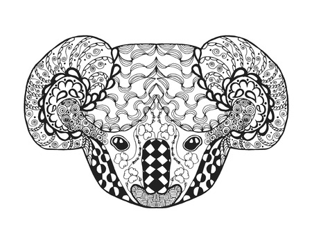 antistress: Koala head. Adult antistress coloring page. Black white hand drawn doodle animal. Ethnic patterned vector. African, indian, totem tribal, zentangle design. Sketch for tattoo, poster, print, t-shirt