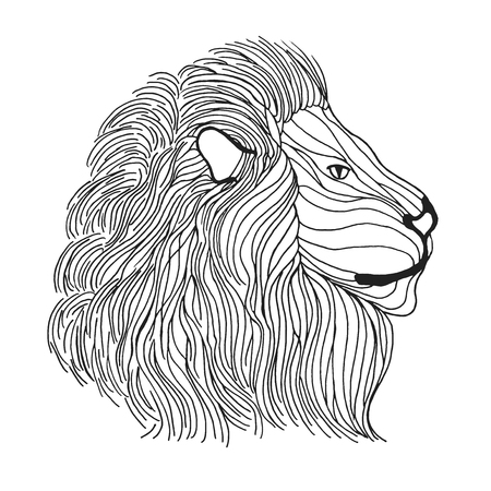 royal safari: Lion head. Adult antistress coloring page. Black white hand drawn doodle animal. Ethnic patterned vector. African, indian, totem tribal, zentangle design. Sketch for tattoo, poster, print, t-shirt Illustration
