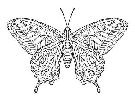 Mariposa estilizada Zentangle. Mano blanco y negro dibujado animales garabato. Étnico ilustración vectorial patrón. África, diseño tribal indio, tótem. Boceto de la página para colorear, tatuaje, cartel, impresión, camiseta Vectores