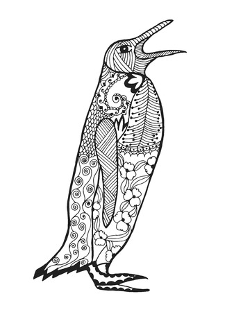 Cute penguin. Adult antistress coloring page. Black white hand drawn doodle animal. Ethnic patterned vector. African, indian, totem tribal, zentangle design. Sketch for tattoo, poster, print, t-shirt Stock Illustratie