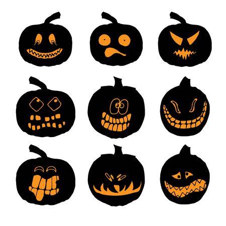 Conjunto De Calabazas De Halloween Con Diferentes Expresiones Para ...