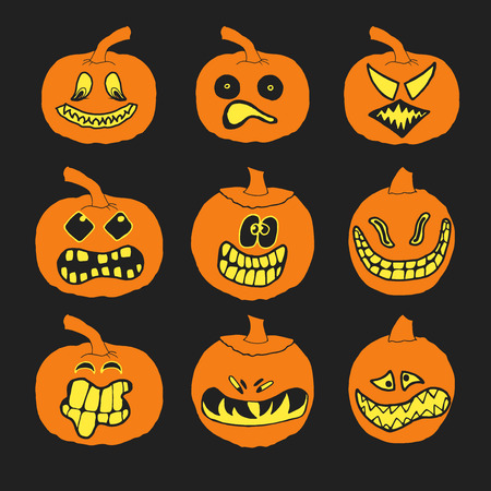 scary eyes: Set of halloween pumpkins with different expressions for your design and business. Scary funny cute characters. Vector illustration EPS 10 isolated on black background. Custom shapes, faces and smiles