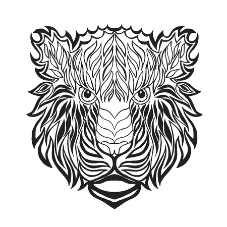 lion silhouette: Tiger head. Adult antistress coloring page. Black white hand drawn doodle animal. Ethnic patterned vector. African, indian, totem tribal, zentangle design. Sketch for tattoo, poster, print, t-shirt Illustration