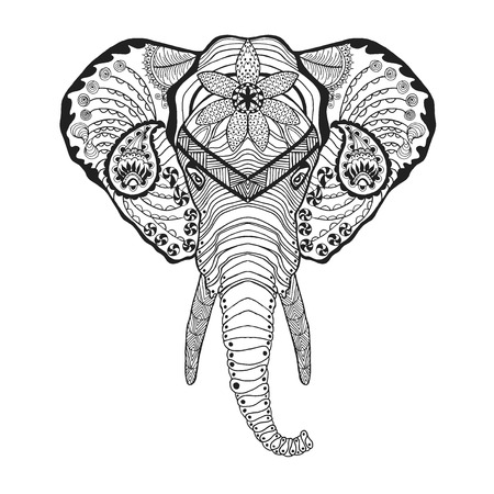indian animal: Elephant head. Adult antistress coloring page. Black white hand drawn doodle animal. Ethnic patterned vector. African, indian, totem tribal, zentangle design. Sketch for tattoo, poster, print, t-shirt Illustration