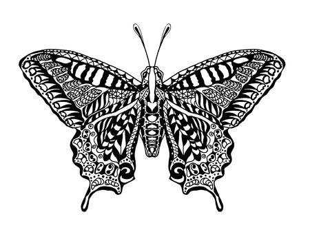 silhouette papillon: Main blanche Noir Traction animale doodle. Ethnique motifs illustration vectorielle. Africaine, indienne conception tribale, totem. Esquisse pour coloriage, tatouage, affiche, copie, t-shirt Illustration