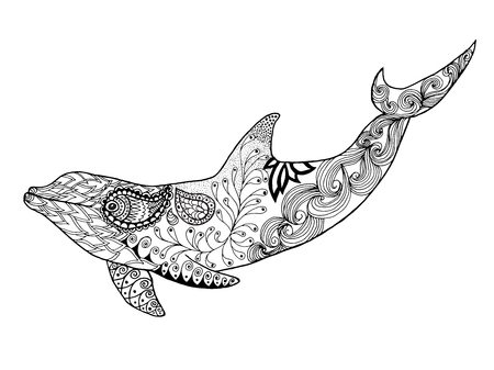 Cute dolphin. Adult antistress coloring page. Black white hand drawn doodle animal. Ethnic patterned vector. African, indian, totem tribal, zentangle design. Sketch for tattoo, poster, print, t-shirt Ilustração