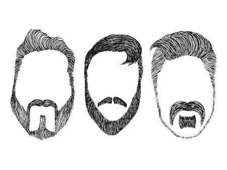 kit design: Hand drawn vector set 2 of dress up constructor. Different men faces hipster geek style haircut, beard, mustache. Silhouette icon creation kit. Design sketch avatar for social media or web site