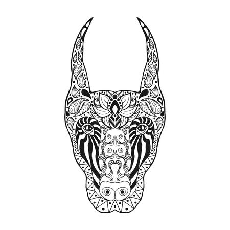 doberman: Sketch for tattoo or t-shirt. Doberman. Coloring page. Animals. Hand drawn doodle. Ethnic patterned vector illustration. African, indian, totem, zentangle, tribal design.