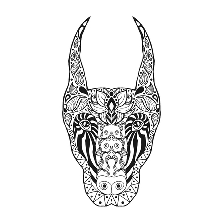 Sketch for tattoo or t-shirt. Doberman. Coloring page. Animals. Hand drawn doodle. Ethnic patterned vector illustration. African, indian, totem, zentangle, tribal design.