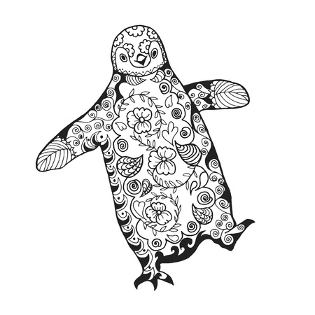 Cute penguin. Adult antistress coloring page. Black white hand drawn doodle animal. Ethnic patterned vector. African, indian, totem tribal, zentangle design. Sketch for tattoo, poster, print, t-shirt Vettoriali