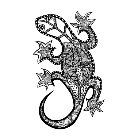 lagartija: Lagarto. Dibujado a mano del doodle. Ilustraci�n estampado �tnico. Africana,, t�tem, dise�o tatuaje indio. Boceto para avatar, tatuaje, carteles, grabados o camiseta.