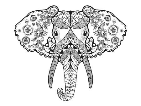 siluetas de elefantes: Colorear antiestrés Adultos. Mano blanco y negro dibujado animales garabato. Vector patrón étnico. África, diseño indio, tótem tribal, zentangle. Boceto para el tatuaje, cartel, impresión, camiseta
