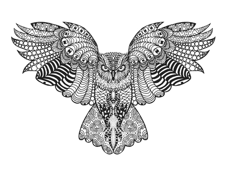 pajaros: Birds. Mano blanco y negro dibujado garabato. �tnico ilustraci�n vectorial patr�n. Africano, indio, t�tem, tribal, dise�o. Boceto para avatar, adulto para colorear antiestr�s, tatuaje, cartel, impresi�n, camiseta