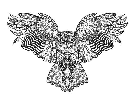 sowa: Ptaki. Czarny biały ręcznie rysowane doodle. Etniczne wzorzyste ilustracji wektorowych. Afrykański, indianin, Totem, tribal, design. Szkic dla awatara, dorosłych antystresowy stronie kolorowanki, tatuaż, plakat, druk, t-shirt