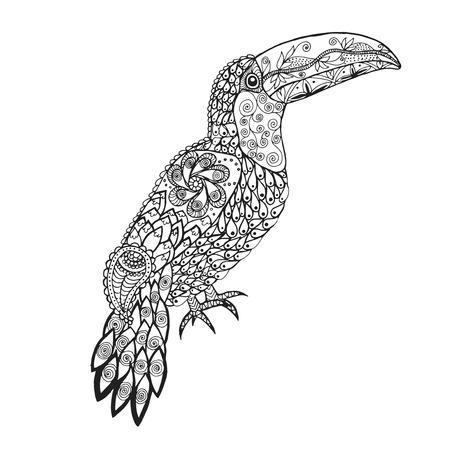 Kleurplaten Volwassenen Papegaai.Papegaai Vogel Geisoleerd Op Wit Vector Schets Zwarte Kleur Royalty
