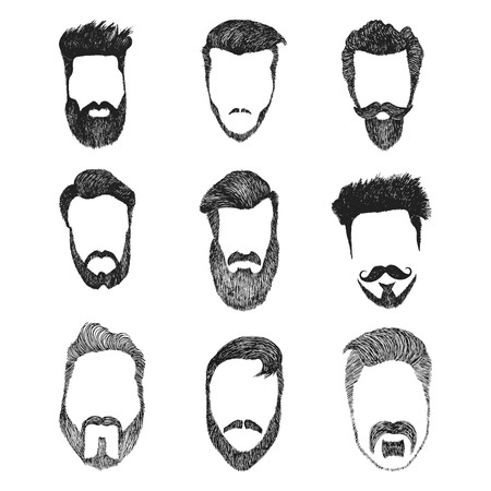 kit design: Different men faces hipster geek style haircut, beard, mustache. Silhouette icon creation kit. Design sketch avatar for social media or web site.