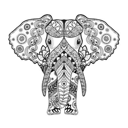 siluetas de animales: Colorear antiestr�s Adultos. Mano blanco y negro dibujado animales garabato. Vector patr�n �tnico. �frica, dise�o indio, t�tem tribal, zentangle. Boceto para el tatuaje, cartel, impresi�n, camiseta