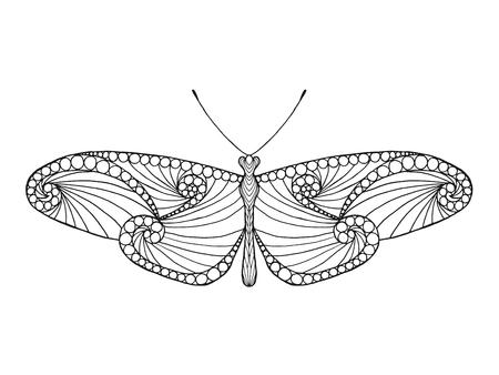 mariposa: Mano blanco y negro dibujado animales garabato. Étnico ilustración vectorial patrón. África, diseño tribal indio, tótem. Boceto de la página para colorear, tatuaje, cartel, impresión, camiseta