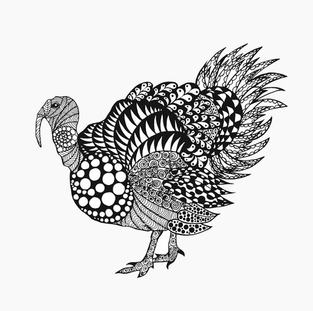 turkey: Birds. Black white hand drawn doodle. Ethnic patterned vector illustration. African, indian, totem, tribal design. Sketch for tattoo, Thanksgiving day, poster, print or t-shirt. Illustration