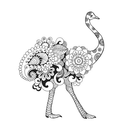 Ostrich bird. Black white hand drawn doodle animal. Ethnic patterned vector illustration. African, indian, totem, tribal, zentangle design. Sketch for colouring page, tattoo, poster, print, t-shirt  イラスト・ベクター素材