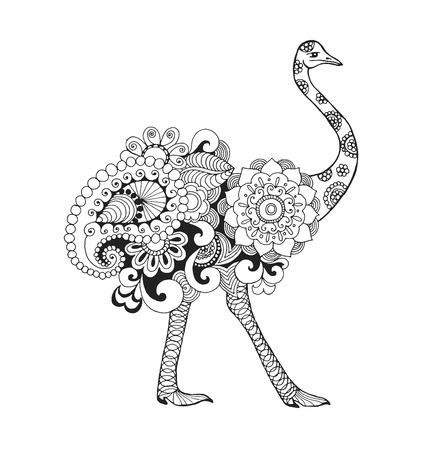 Struisvogel vogel. Zwart wit hand getrokken doodle dier. Etnische patroon vector illustratie. Afrikaans, indisch, totem, stammen, zentangle ontwerp. Schets voor kleurplaat, tattoo, poster, print, t-shirt