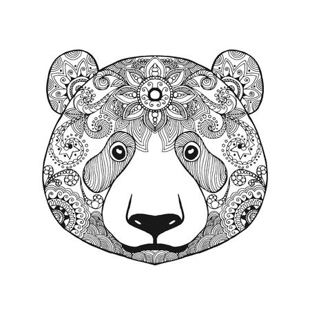 tribales: Oso de panda lindo. Mano blanco y negro dibujado animales garabato. �tnico ilustraci�n vectorial patr�n. Africana,, t�tem, dise�o tribal, zentangle indio. Boceto de la p�gina para colorear, tatuaje, cartel, impresi�n, camiseta