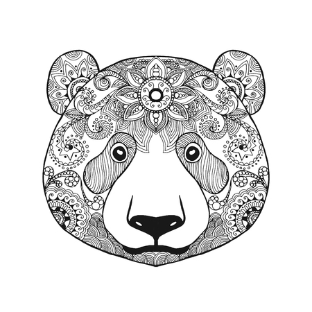 Cute panda bear. Black white hand drawn doodle animal. Ethnic patterned vector illustration. African, indian, totem, tribal, zentangle design. Sketch for coloring page, tattoo, poster, print, t-shirt