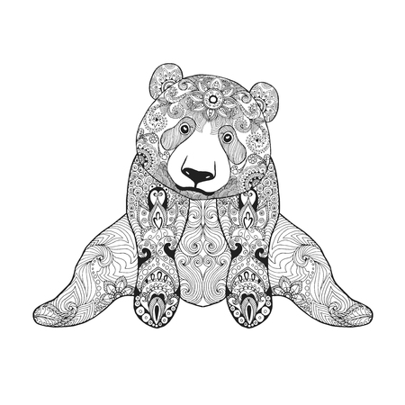 totem: Cute panda bear. Black white hand drawn doodle animal. Ethnic patterned vector illustration. African, indian, totem, tribal, zentangle design. Sketch for coloring page, tattoo, poster, print, t-shirt