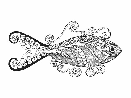 indian fish: Zentangle stylized fish. Hand drawn doodle animal. Ethnic patterned vector illustration. African, indian, totem, tribal design. Sketch for avatar, coloring page, tattoo, posters, print, t-shirt
