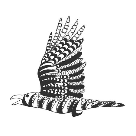 corvo imperiale: Zentangle corvo stilizzato. Uccelli. Mano bianco nero Doodle disegnato. Etnico illustrazione fantasia. Africano, indiano, disegno tatoo totem. Sketch per avatar, tatuaggio, poster, stampa o t-shirt. Vettoriali