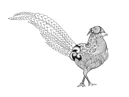 Zentangle stylized pheasant. Birds. Black white hand drawn doodle. Ethnic patterned vector illustration. African, indian, totem, tribal design. Sketch for coloring page, tattoo, poster, print or t-shirt.