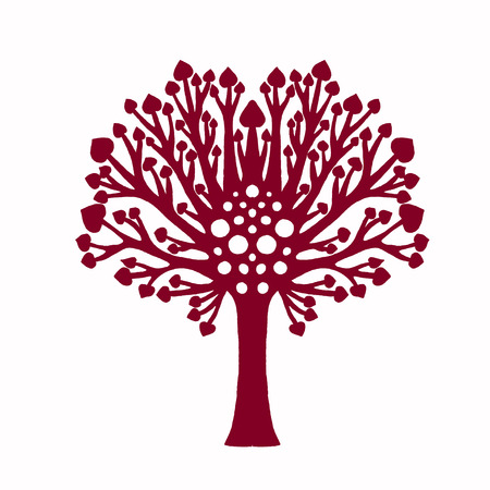 Decorative family tree plant for laser cut. Lazer cut silhouette isolated tree. Crown and leaves. Sketch for wood or lasercutting. Cutout paperwork. Vector illustration for your design and business.