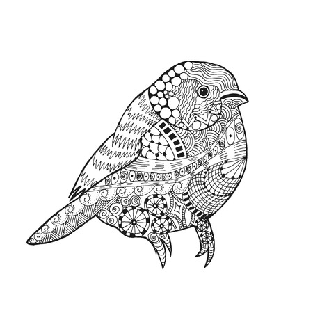 Zentangle stylized bird. Animals. Black white hand drawn doodle sparrow . Ethnic patterned illustration. African, indian, totem tatoo design. Sketch for avatar, tattoo, poster, print or t-shirt. Stock Photo