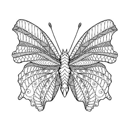 farfalla tatuaggio: farfalla. Mano bianco nero disegnato animale doodle. Etnica illustrazione vettoriale fantasia. Africano, indiano, disegno tribale totem. Bozzetto per colorare, tatuaggio, poster, stampa, t-shirt