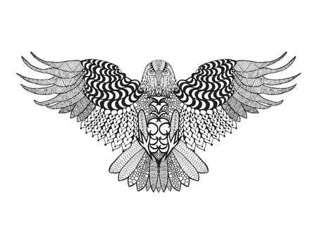 totem indien: aigle. Des oiseaux. main blanche Noir tiré doodle. Ethnique motifs illustration vectorielle. Africaine, indien, totem, tribal, conception. Esquisse pour avatar, adulte coloriages antistress, tatouage, affiche, impression, t-shirt Illustration
