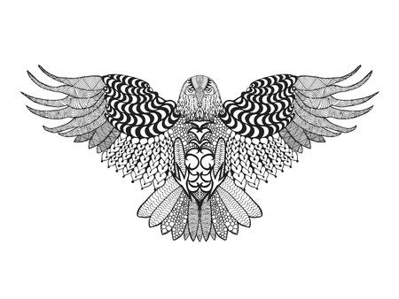 tribales: águila. Birds. Mano blanco y negro dibujado garabato. Étnico ilustración vectorial patrón. Africano, indio, tótem, tribal, diseño. Boceto para avatar, adulto para colorear antiestrés, tatuaje, cartel, impresión, camiseta