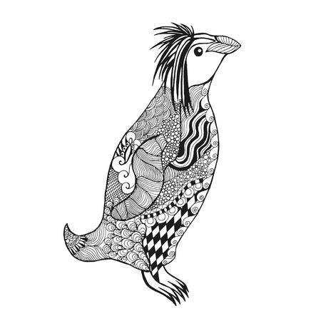 siluetas de animales: pingüino. Colorear antiestrés Adultos. Mano blanco y negro dibujado animales garabato. Vector patrón étnico. África, diseño tribal indio, tótem. Boceto para el tatuaje, cartel, impresión, camiseta