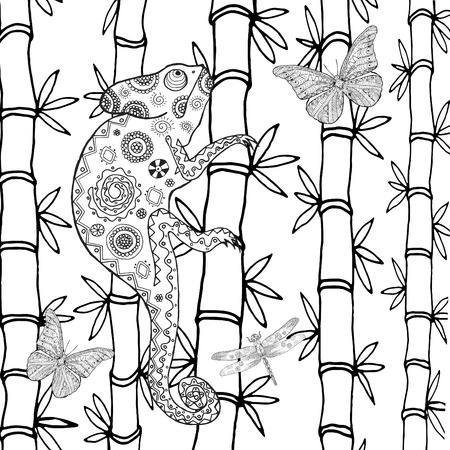 cut flowers: Chameleon coloring page