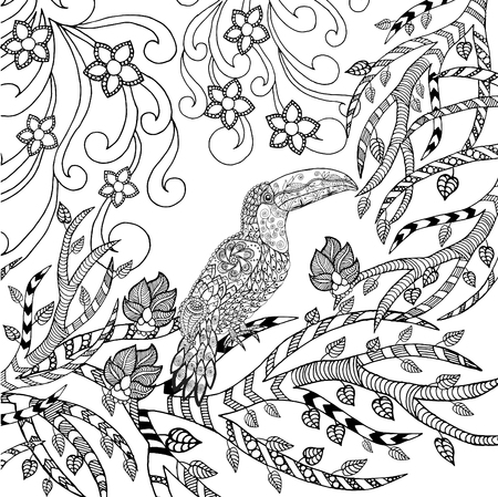 retro cartoon: Toucan coloring page Illustration