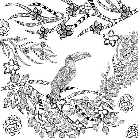 animal in the wild: Toucan en jardín de flores